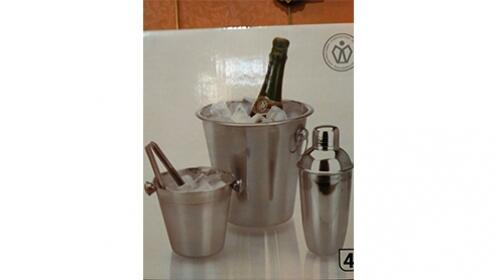 Cubo de hielo,pinza, champanero y coctelera. Juego de 4 piezas de acero inoxidable por 15,90€