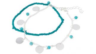 Tobillera con medallas y perlas en tonos azules